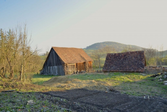 Barns and Garden in early Spring